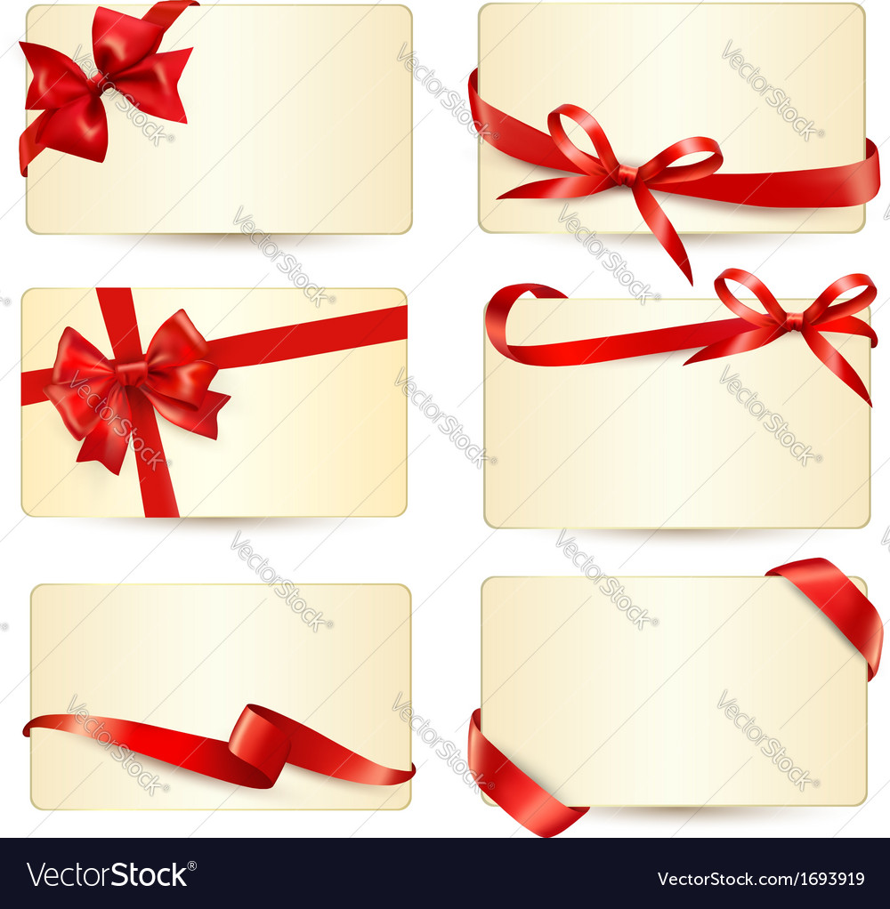 Set of beautiful gift cards with red gift bows vector | Price: 1 Credit (USD $1)