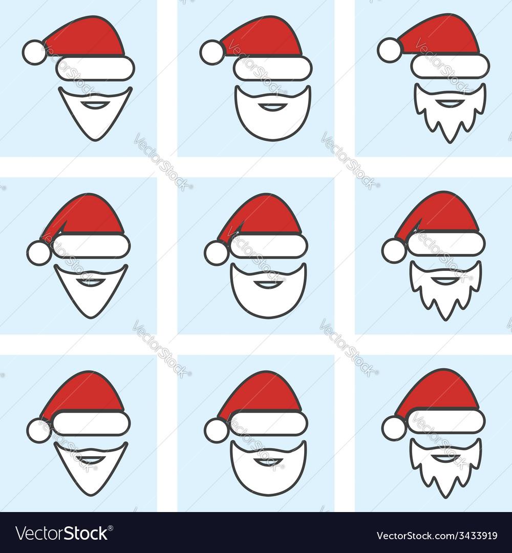 Set of santa claus face vector