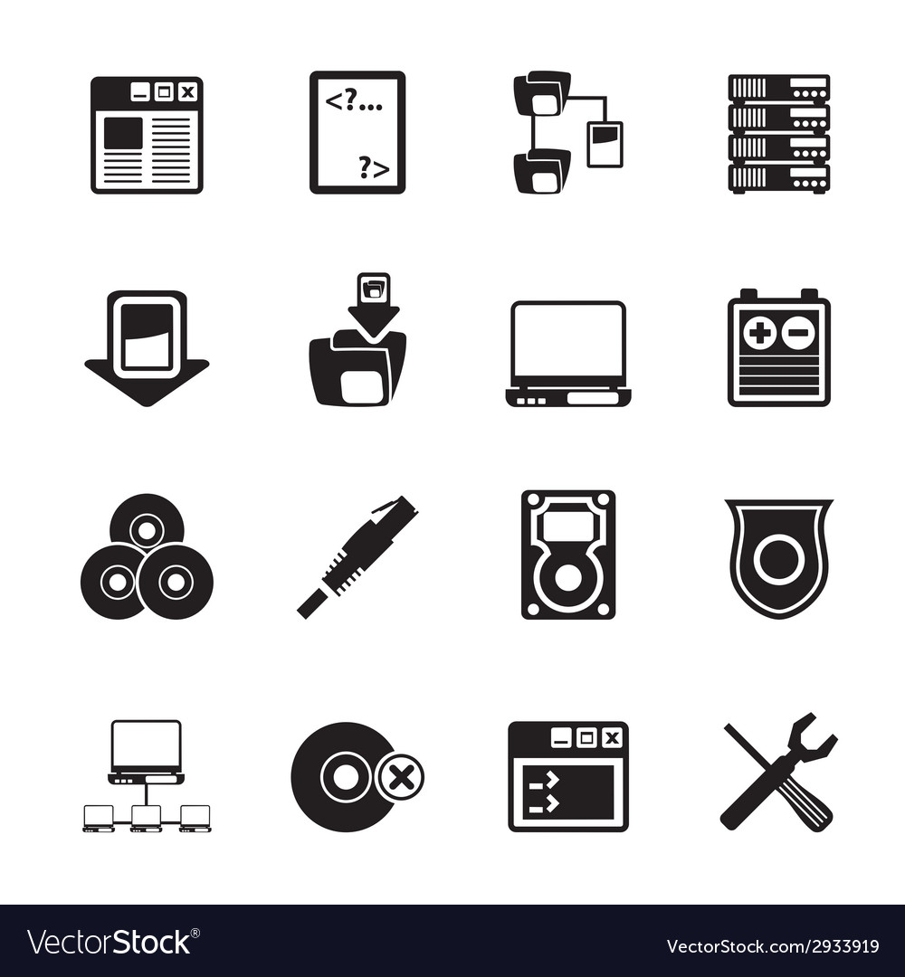 Silhouette server side computer icons vector | Price: 1 Credit (USD $1)