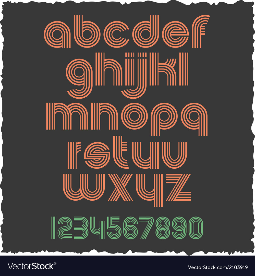 Small letters retro style eps10 vector | Price: 1 Credit (USD $1)
