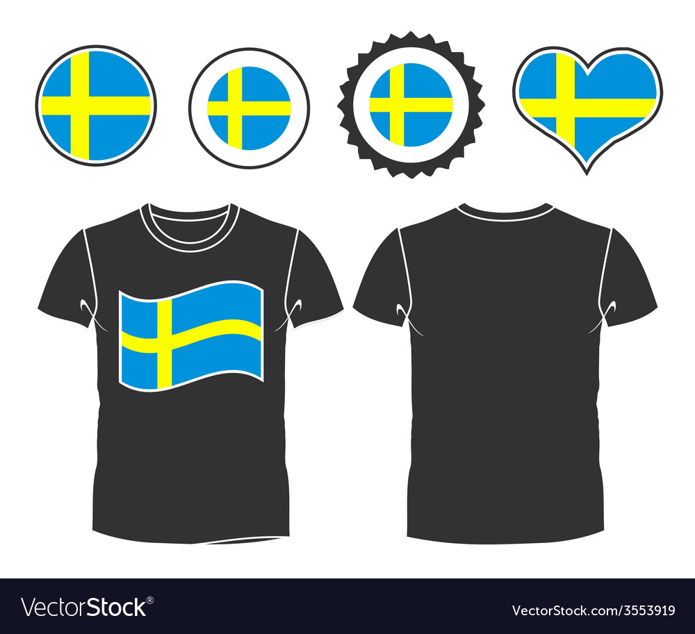 T-shirt with the flag of sweden vector | Price: 1 Credit (USD $1)