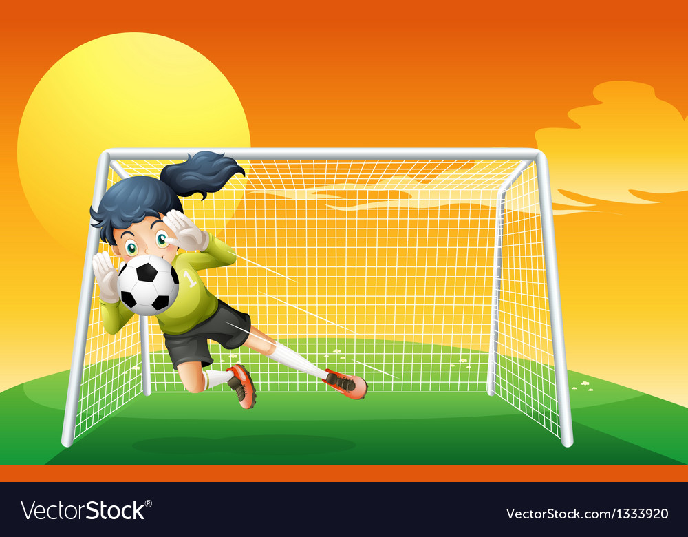 A female soccer player catching the ball vector | Price: 1 Credit (USD $1)