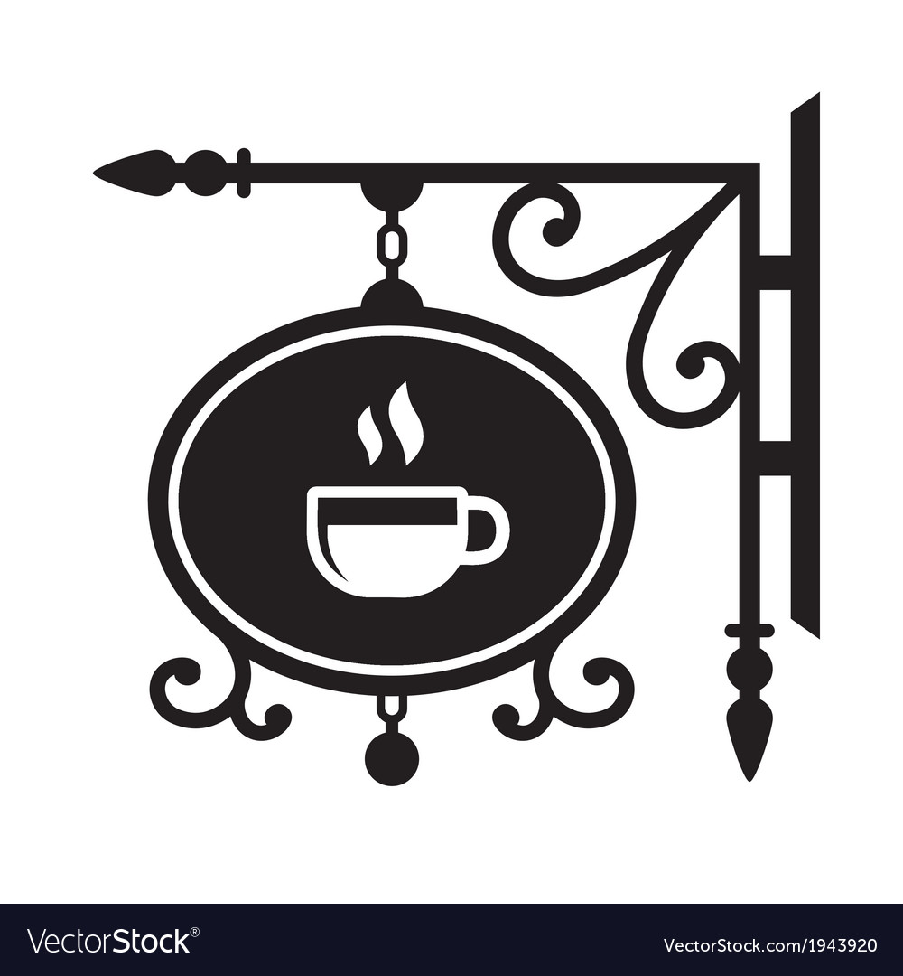Ancient street signboard coffee house vector | Price: 1 Credit (USD $1)