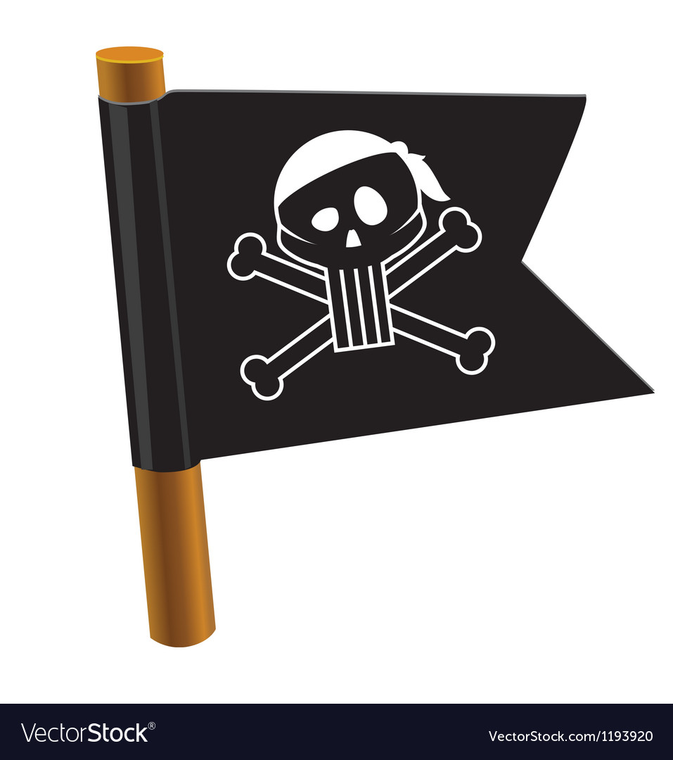 Black flag with pirate symbol vector | Price: 1 Credit (USD $1)