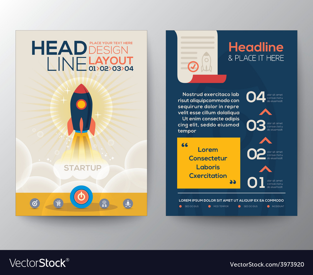 Brochure flyer layout start up business concept vector