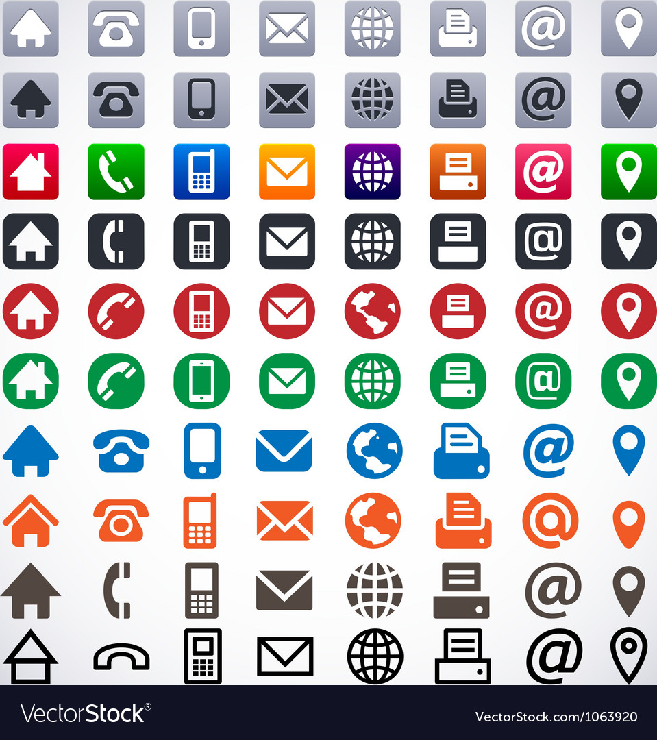 Contact icons vector | Price: 1 Credit (USD $1)
