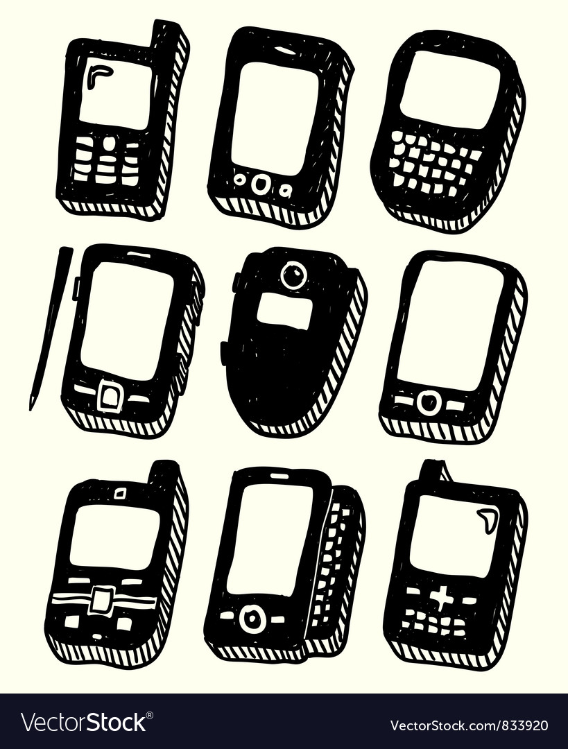 Doodle style mobile phones set vector | Price: 1 Credit (USD $1)