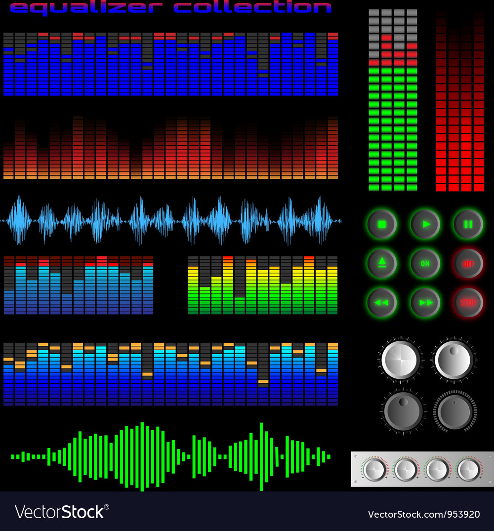Equalizers and software buttons vector | Price: 1 Credit (USD $1)