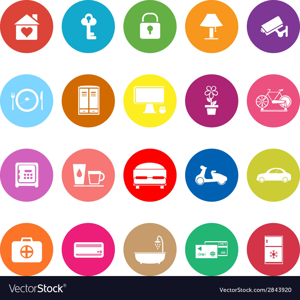 General home stay flat icons on white background vector | Price: 1 Credit (USD $1)