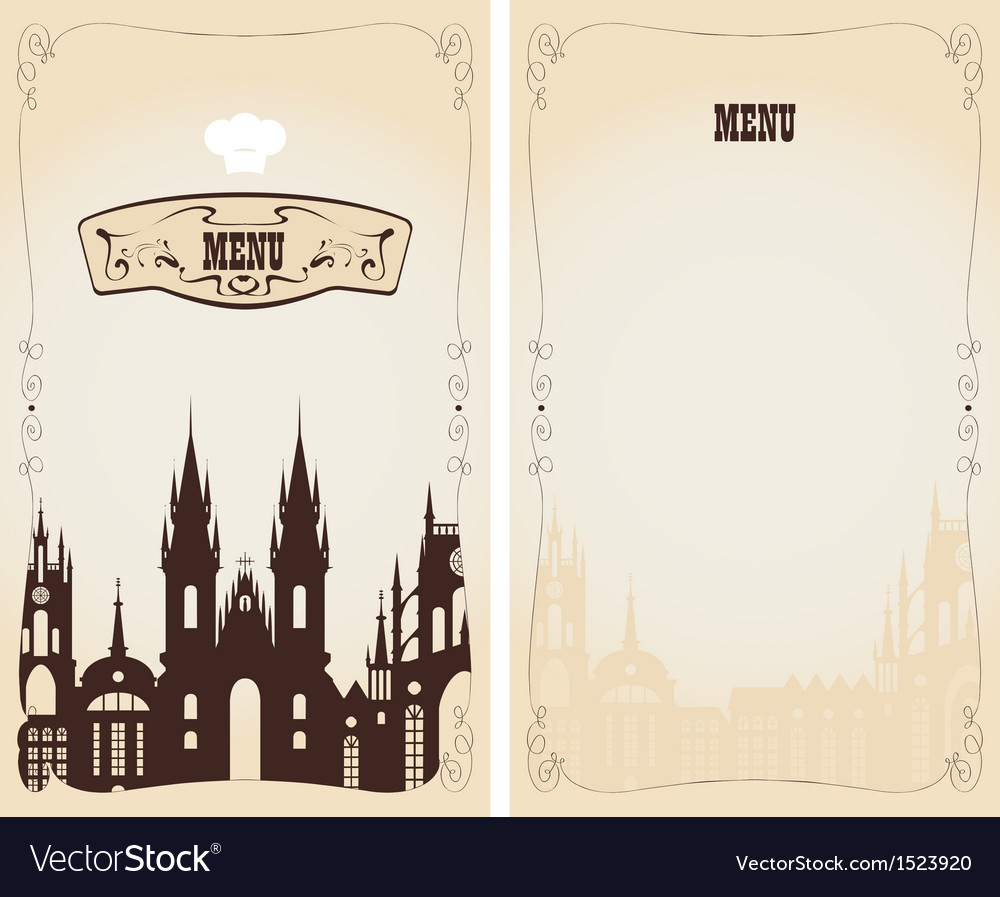 Menu with old town vector | Price: 1 Credit (USD $1)