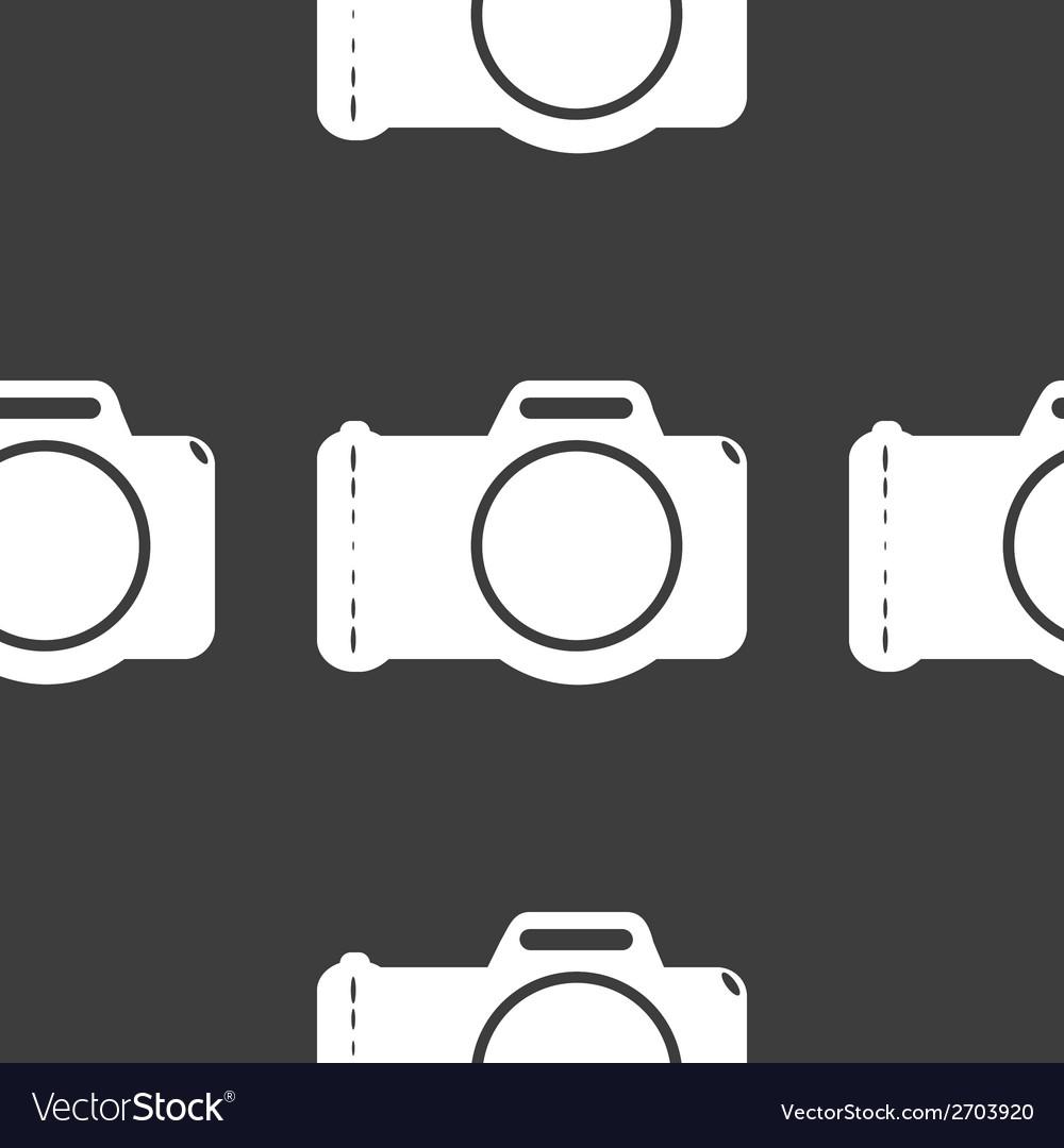 Photo camera web icon flat design seamless gray vector | Price: 1 Credit (USD $1)
