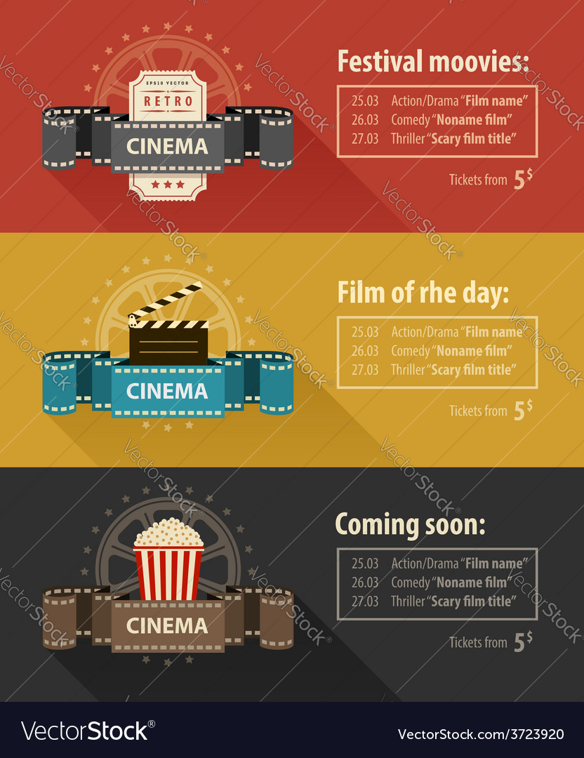 Retro cinema banners posters vector | Price: 1 Credit (USD $1)