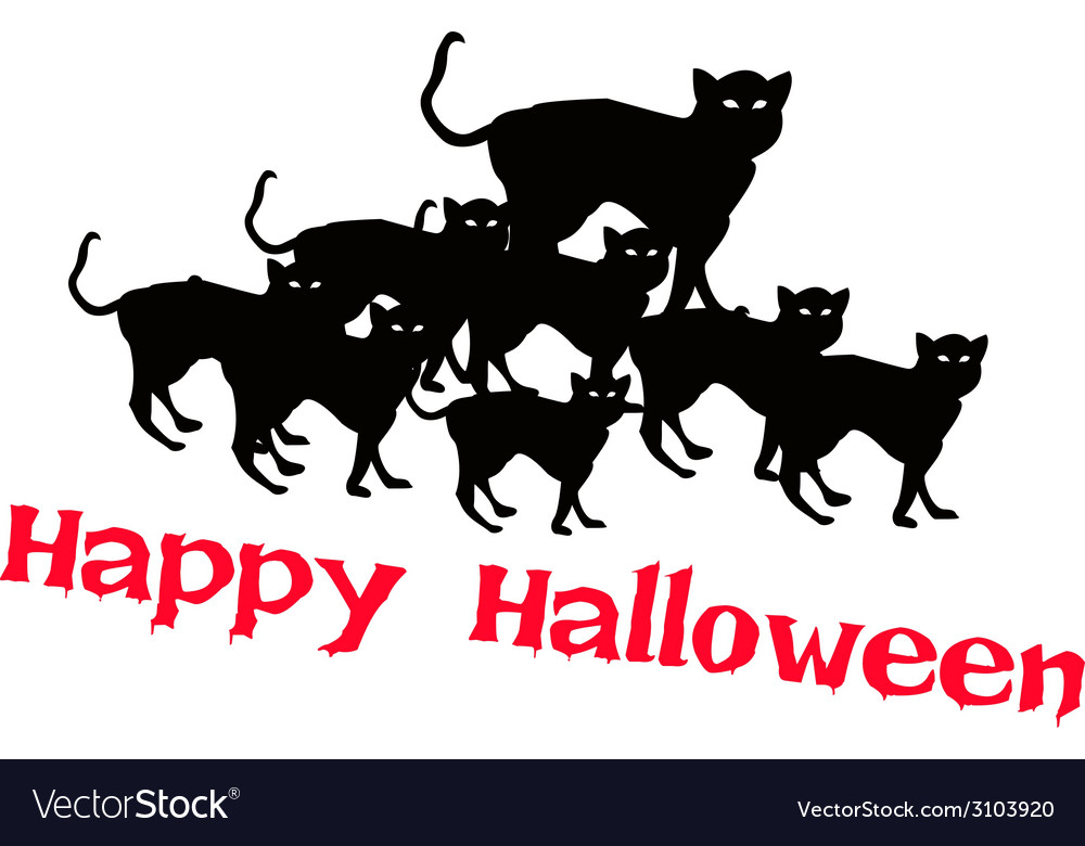 Three evil cat with word happy halloween vector | Price: 1 Credit (USD $1)