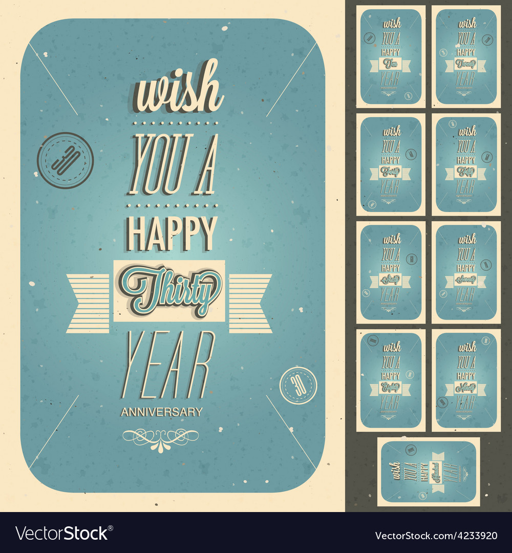 Vintage style anniversary sign collection vector | Price: 1 Credit (USD $1)