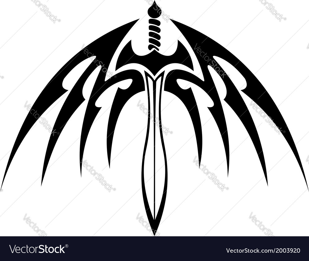 Winged sword with barbed feathers vector | Price: 1 Credit (USD $1)