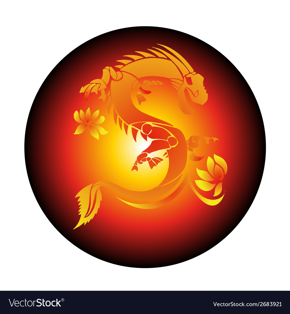 Circle red background with yellow dragon vector | Price: 1 Credit (USD $1)