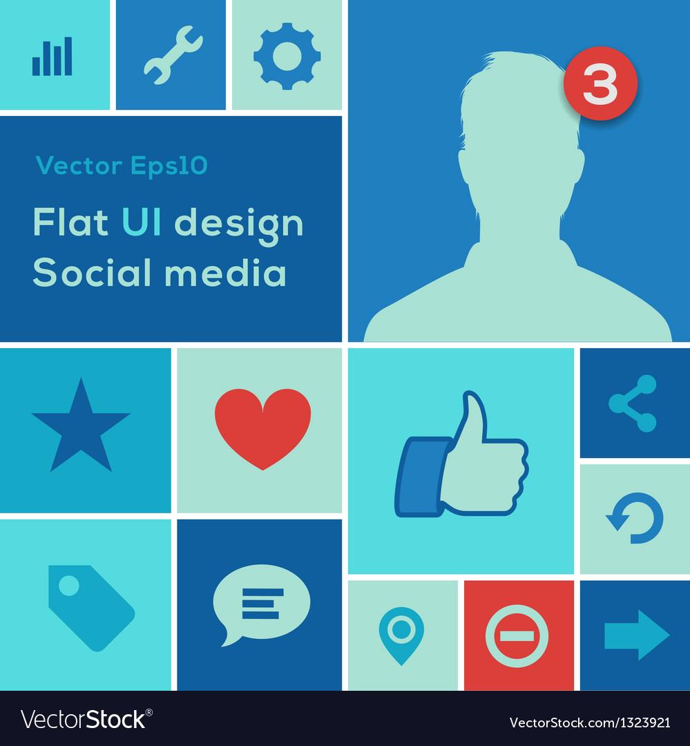 Flat ui design trend social media set icons vector | Price: 1 Credit (USD $1)