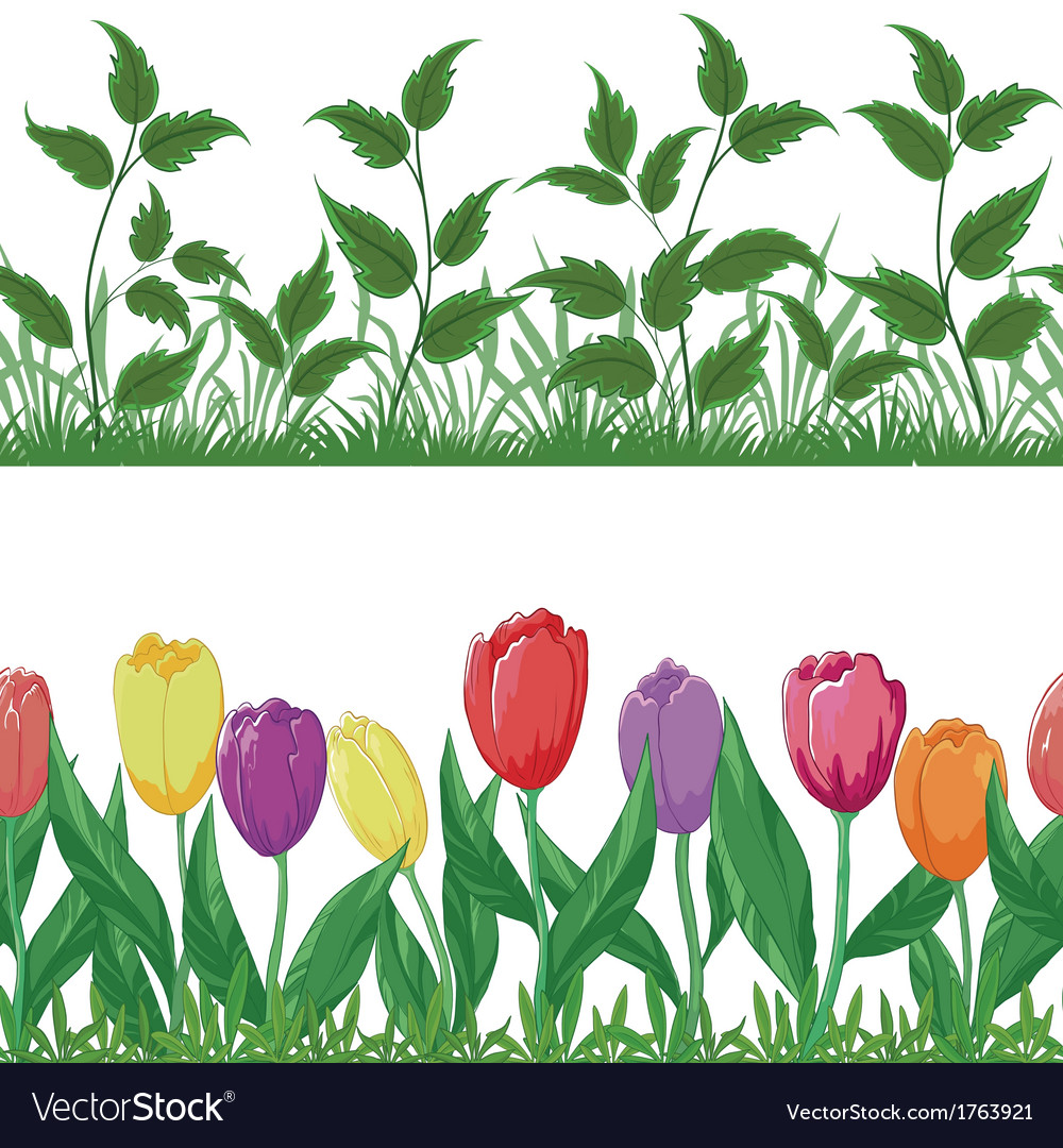 Flowers and grass set vector | Price: 1 Credit (USD $1)