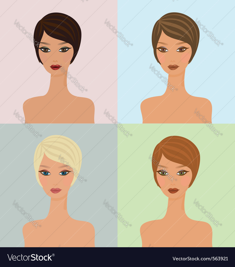 Four faces vector | Price: 1 Credit (USD $1)