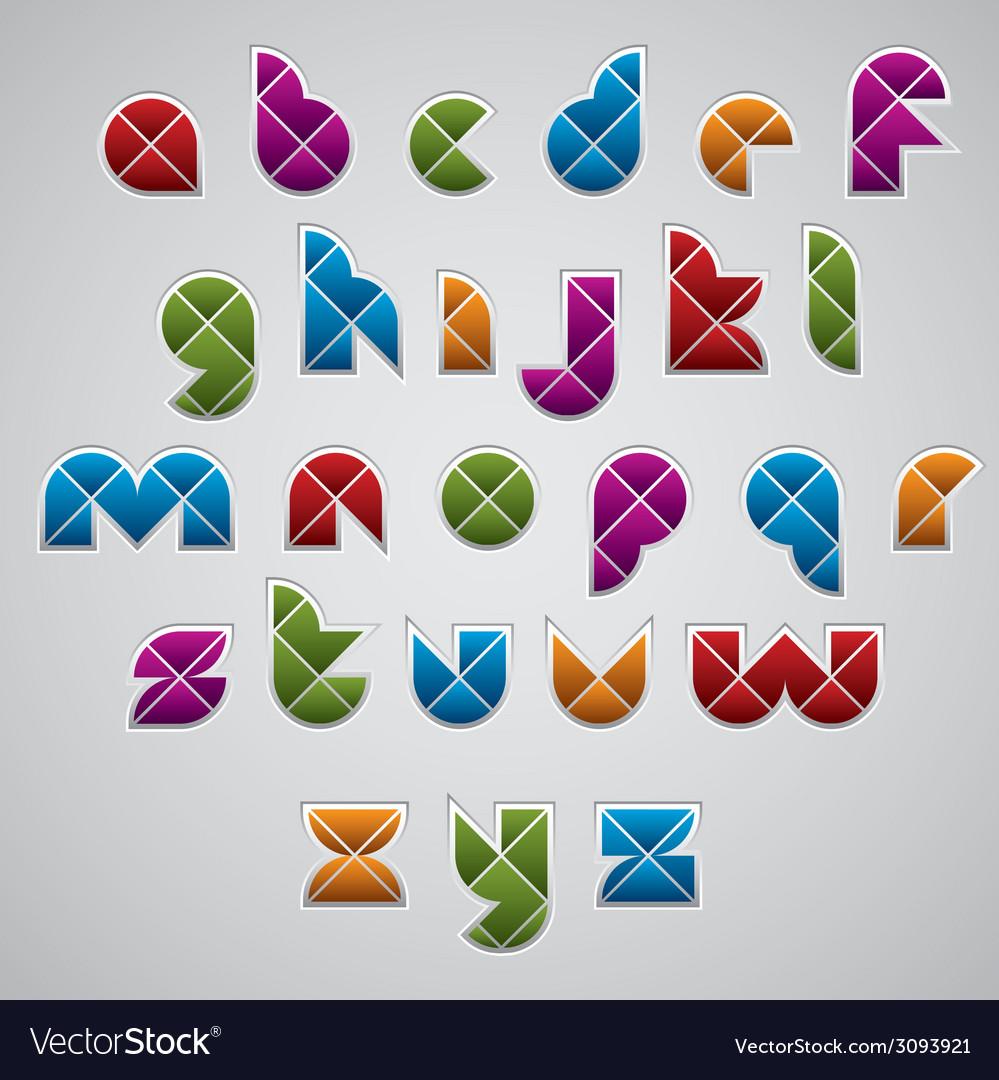 Geometric modern style digital letters alphabet vector | Price: 1 Credit (USD $1)