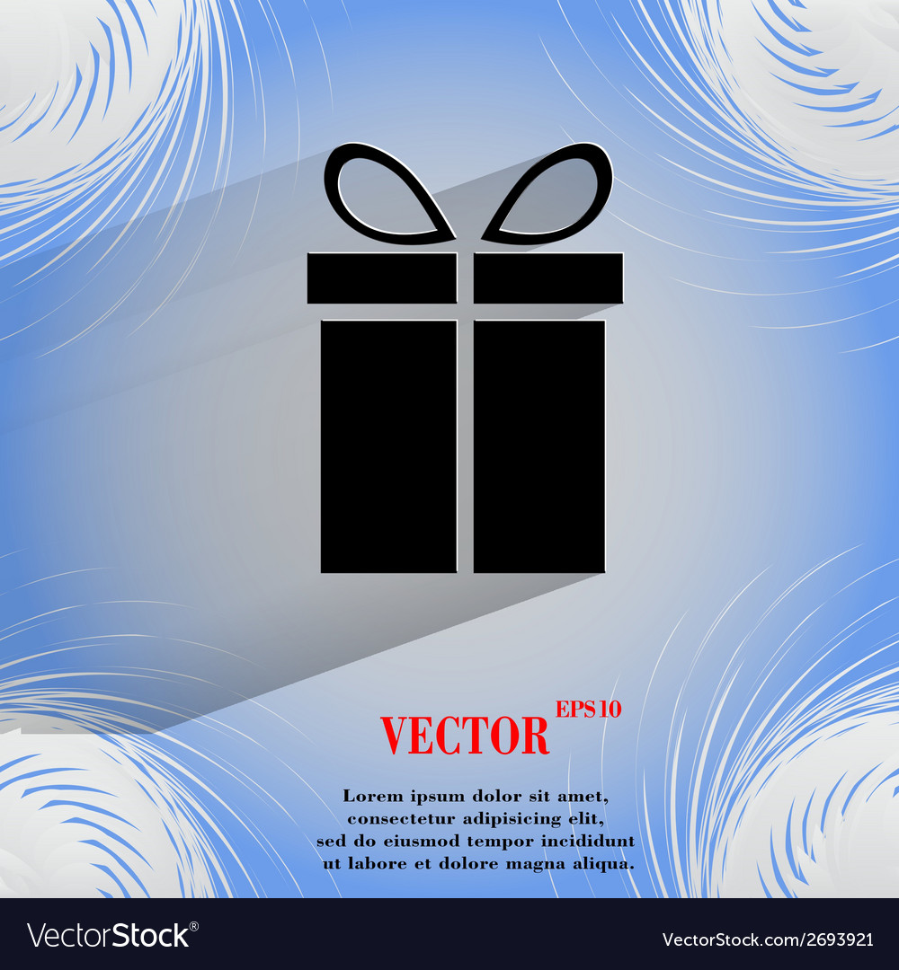 Gift web icon on a flat geometric abstract vector | Price: 1 Credit (USD $1)