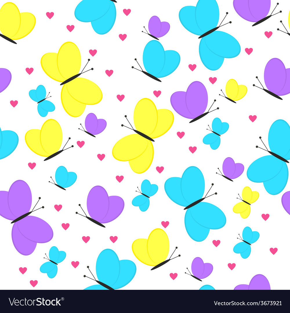 Seamless pattern with butterflies and hearts girly vector | Price: 1 Credit (USD $1)