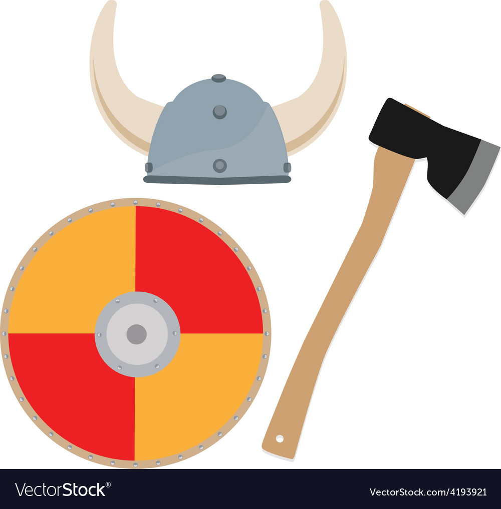 Viking hat shield and axe vector | Price: 1 Credit (USD $1)