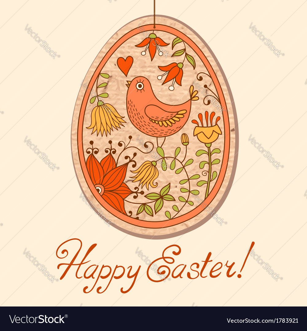 Vintage card with easter egg vector | Price: 1 Credit (USD $1)