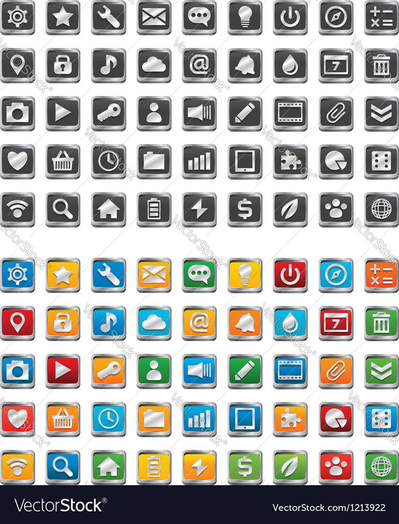 90 metal app icons vector | Price: 1 Credit (USD $1)