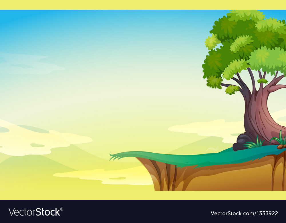 A big old tree near the cliff vector | Price: 1 Credit (USD $1)