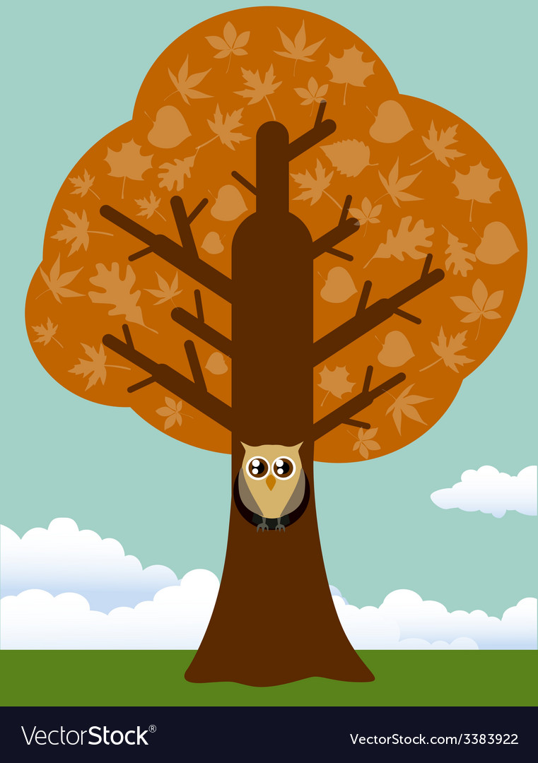 Autumn tree with owl vector | Price: 1 Credit (USD $1)