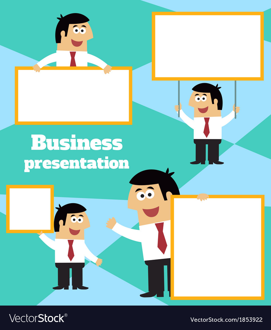 Businessman with blank sign banner and placard vector | Price: 1 Credit (USD $1)