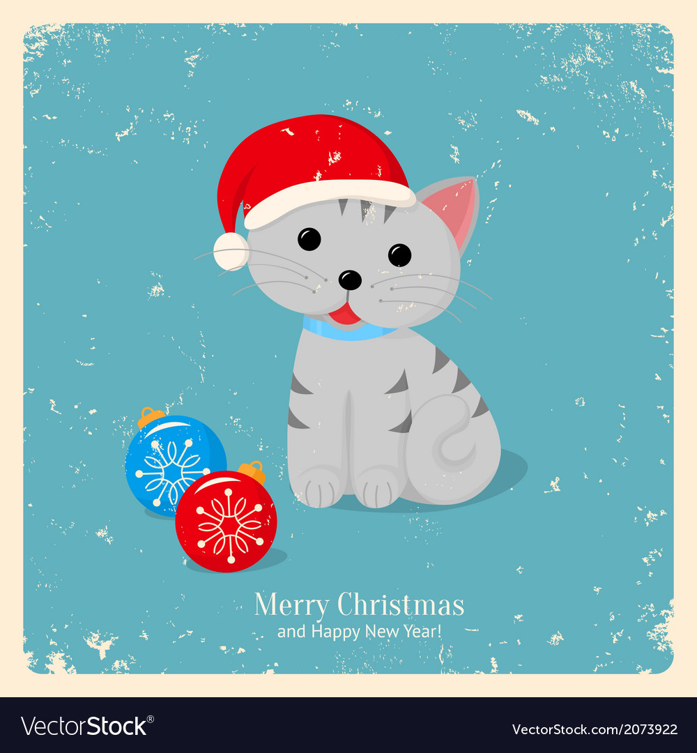Gray kitten in red hat with two christmas balls vector | Price: 1 Credit (USD $1)