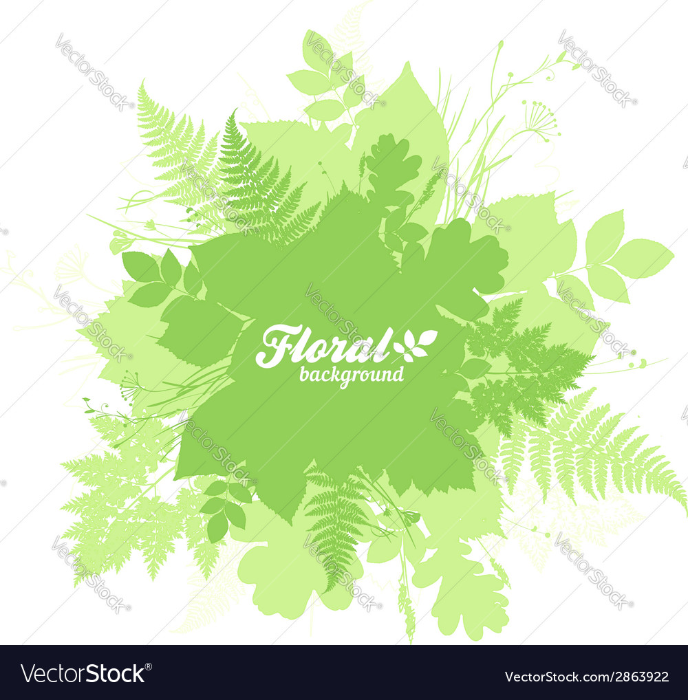 Green isolated foliage silhouettes trendy banner vector | Price: 1 Credit (USD $1)