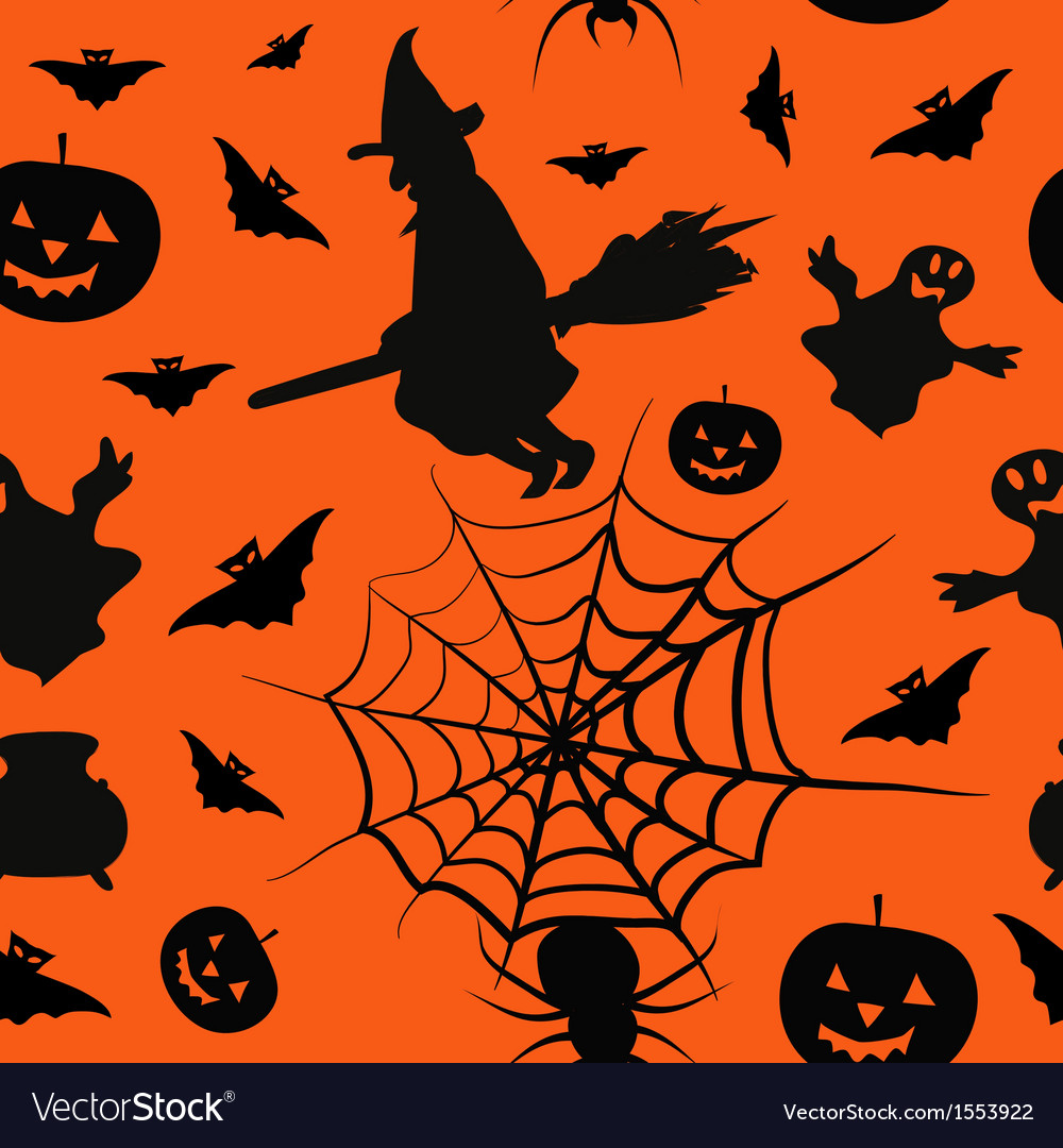 Halloween card seamless pattern background vector | Price: 1 Credit (USD $1)