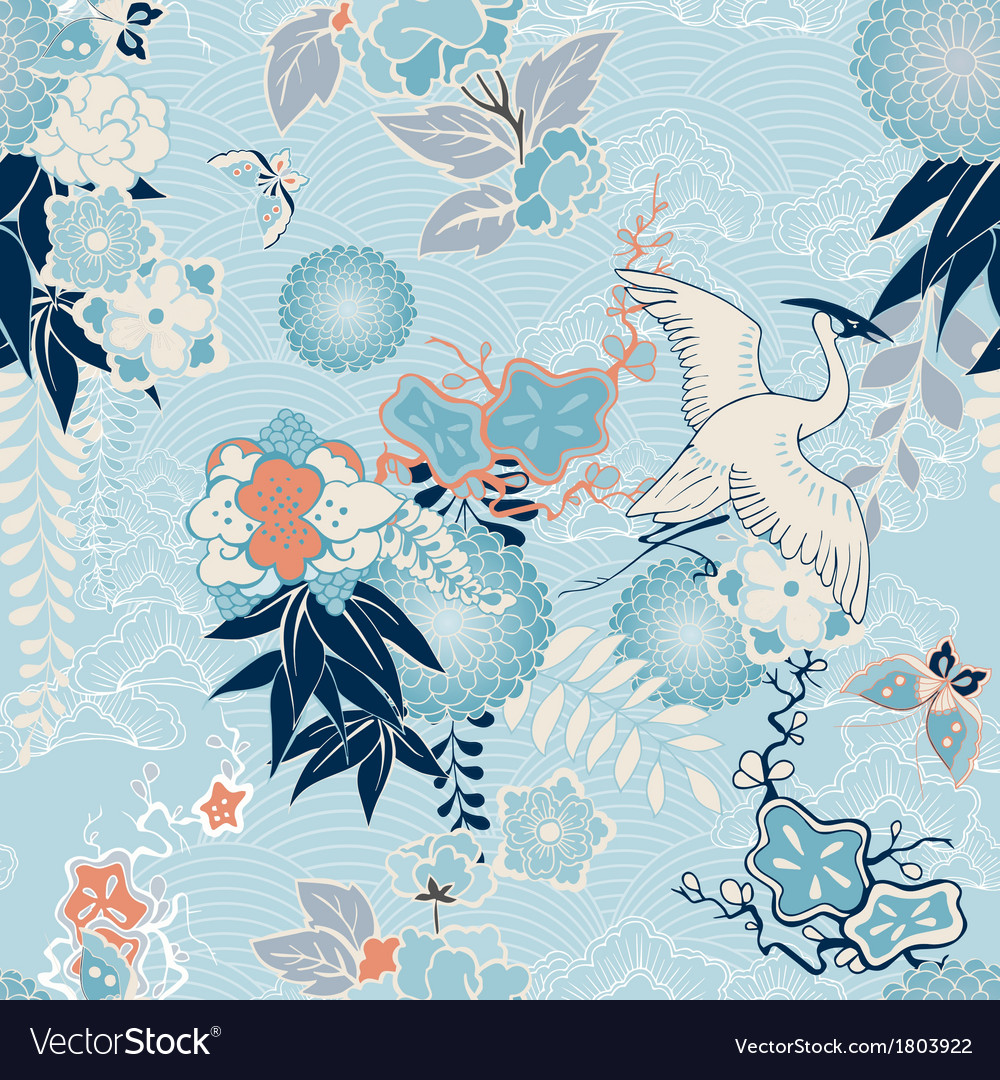 Kimono background with crane and flowers vector | Price: 1 Credit (USD $1)
