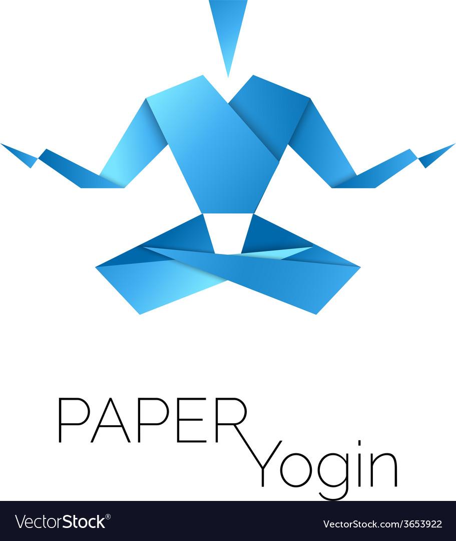 Man in origami symbol lotus position icon vector | Price: 1 Credit (USD $1)
