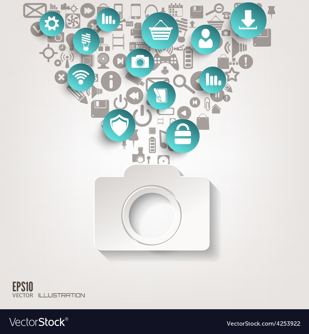 Photocamera icon flat abstract background with vector | Price: 3 Credit (USD $3)