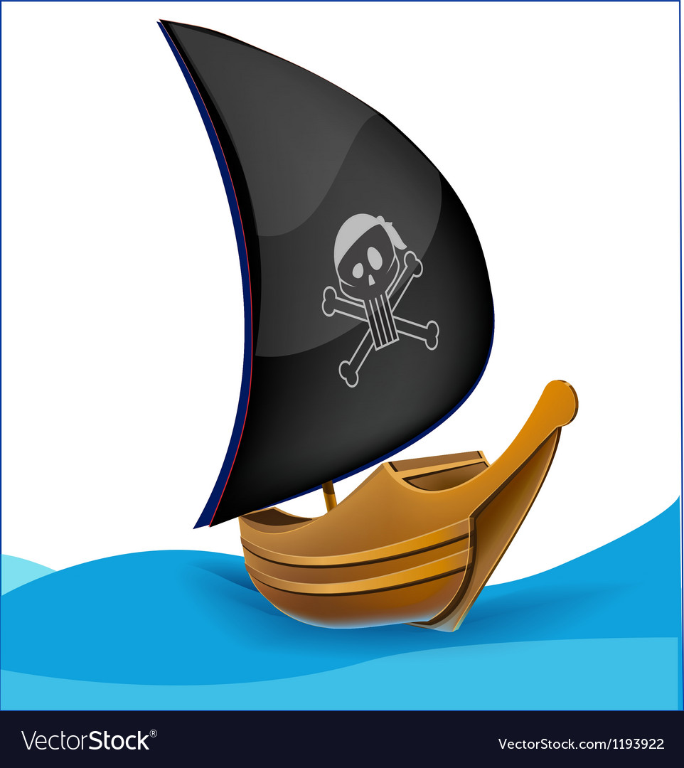 Sail boat with pirate symbol vector | Price: 1 Credit (USD $1)