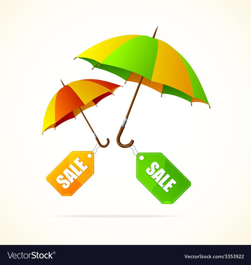 Sale labels with umbrellas spring vector | Price: 1 Credit (USD $1)