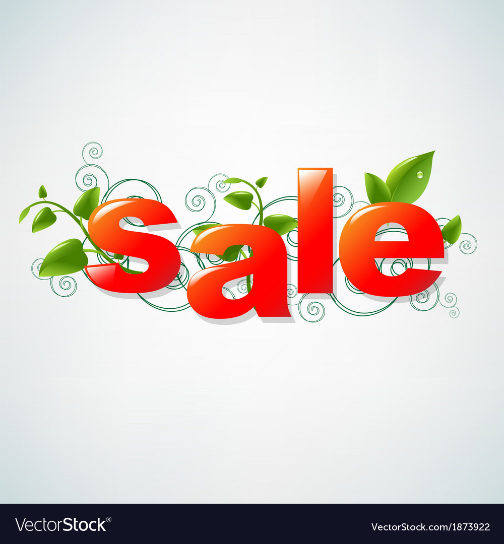 Sale poster with green leaves vector | Price: 1 Credit (USD $1)