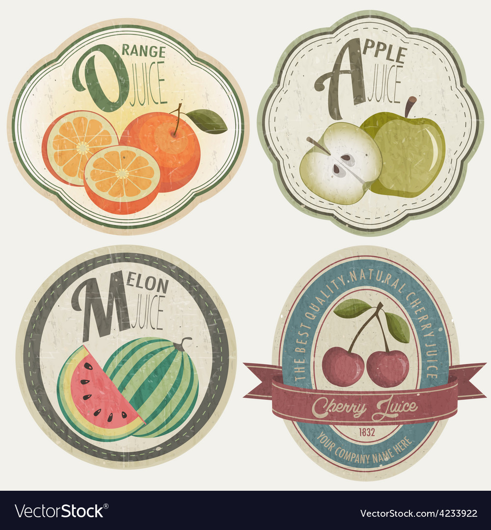 Vintage label collection with fruit vector | Price: 1 Credit (USD $1)