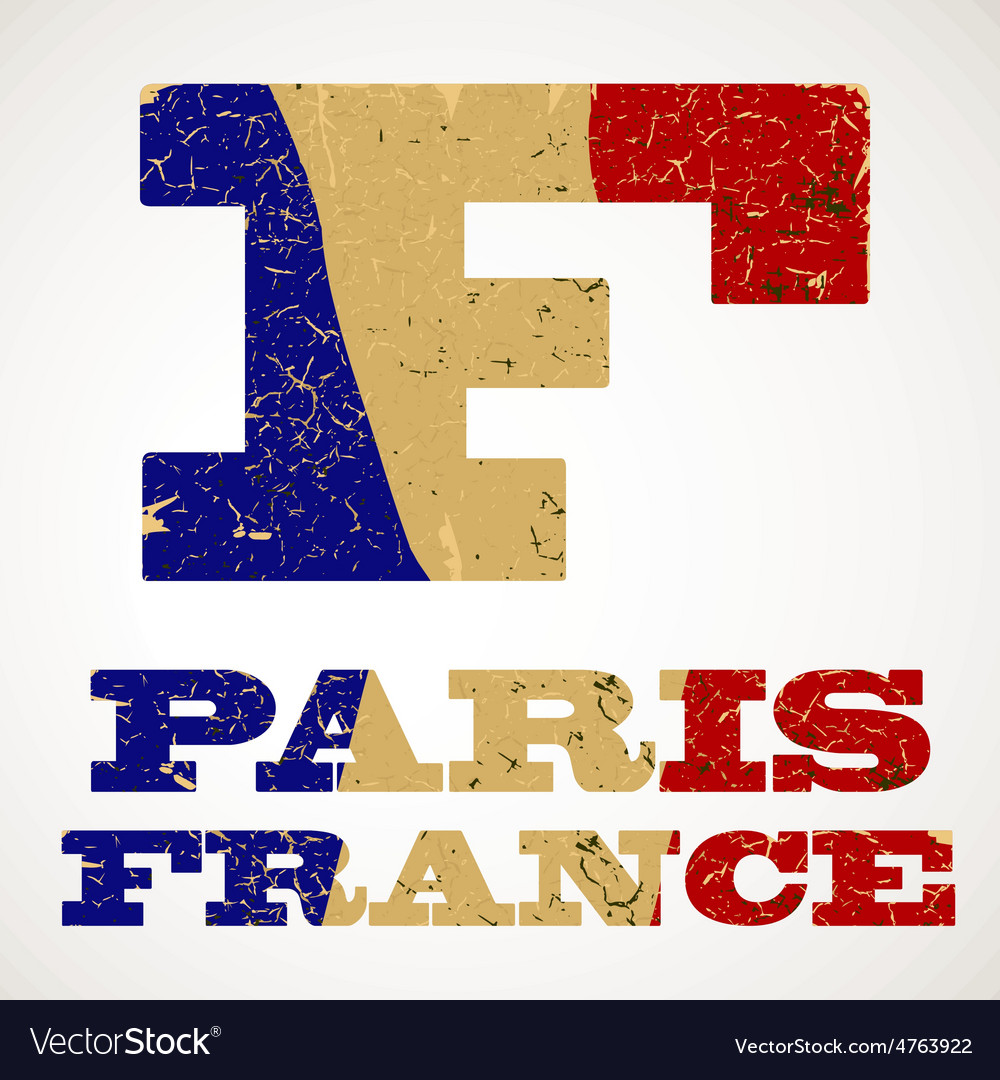 Vintage lettering f and france flag vector | Price: 1 Credit (USD $1)
