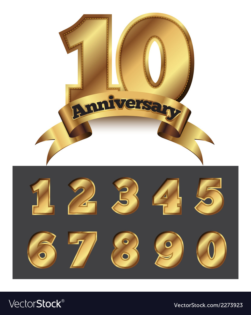 Decorative anniversary golden emblem vector | Price: 1 Credit (USD $1)
