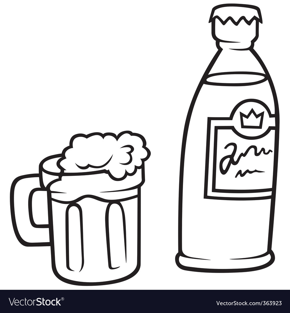 Glass of beer and bottle vector | Price: 1 Credit (USD $1)