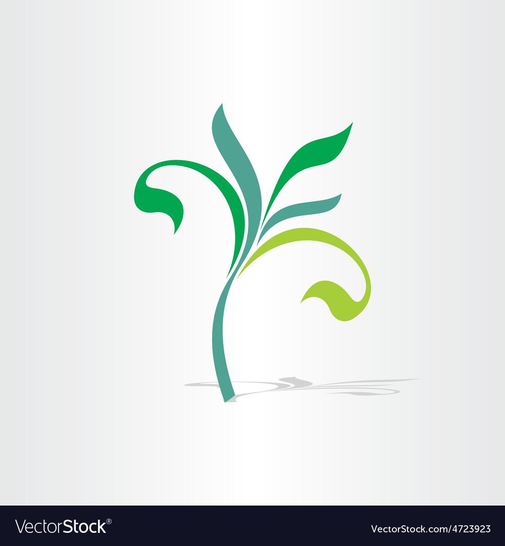 Green eco tree floral plant icon vector | Price: 1 Credit (USD $1)