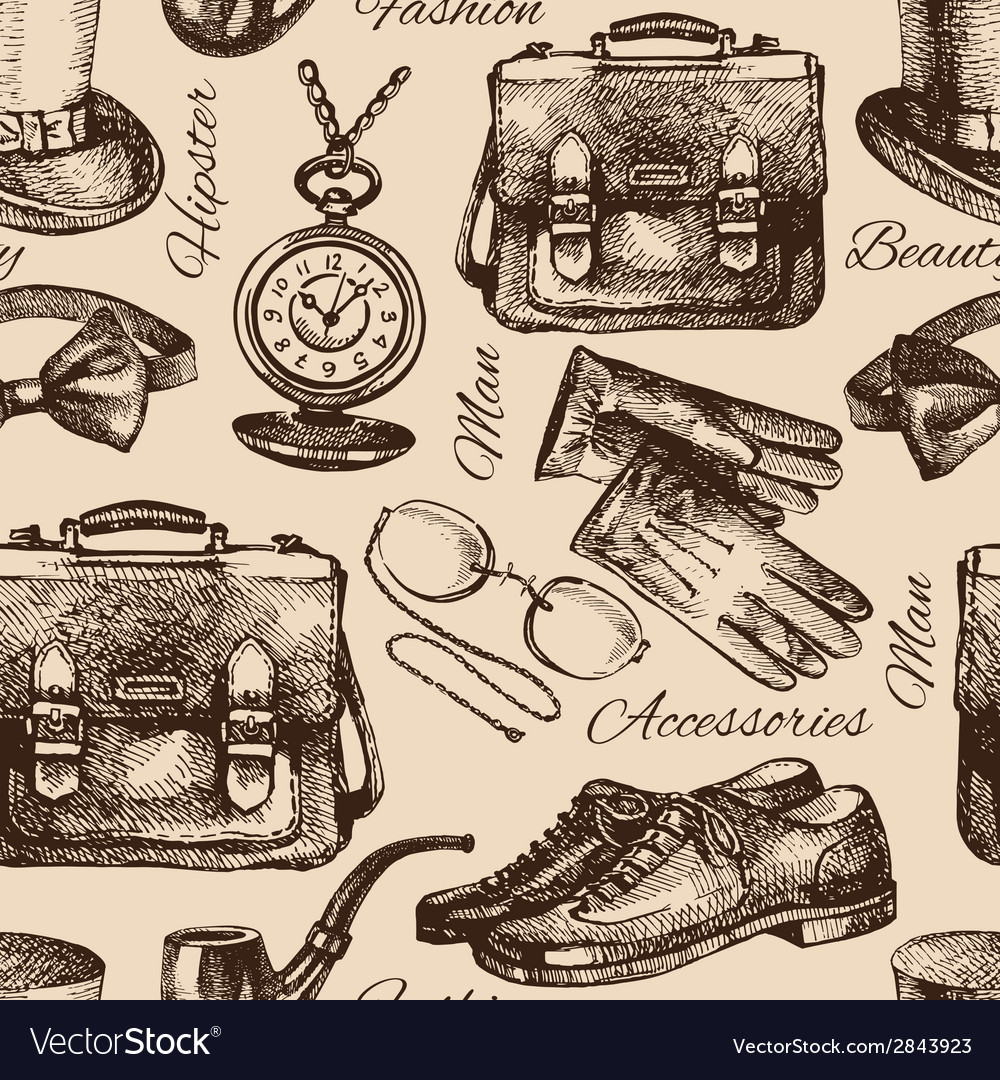 Sketch gentlemen accessories vector | Price: 1 Credit (USD $1)