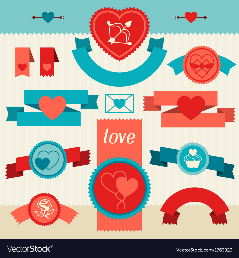 Valentines and wedding banners ribbons badges vector | Price: 1 Credit (USD $1)