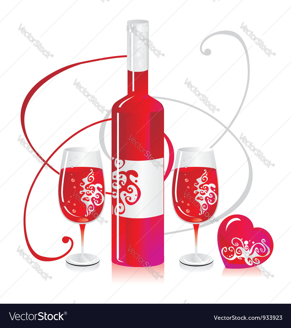 Wine bottle and glasses vector | Price: 1 Credit (USD $1)