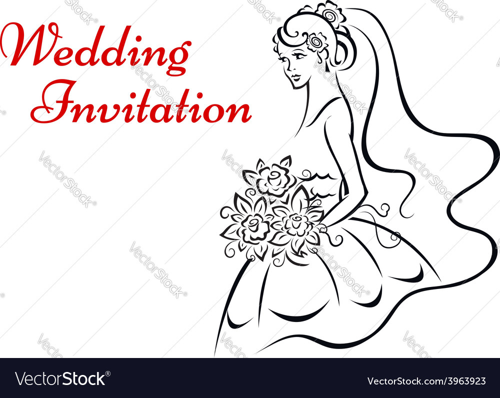 Younf bride in white dress vector | Price: 1 Credit (USD $1)